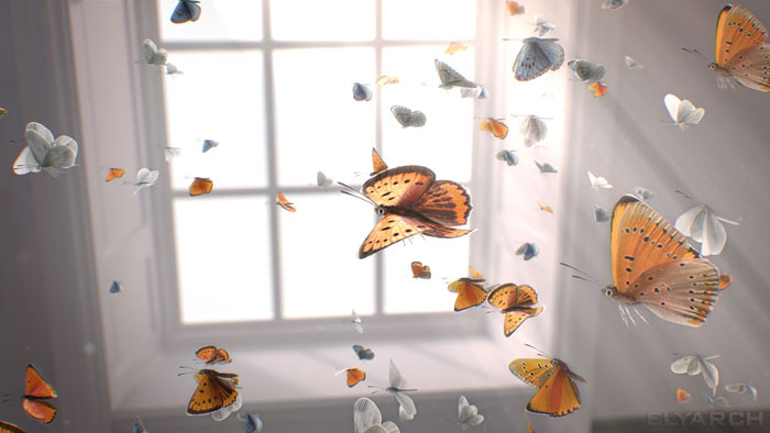 a frame from our CG short film 'Gone?': butterflies in flight
