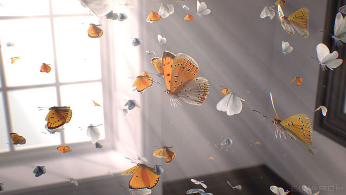 a frame from our CG short film 'Gone?': butterflies in flight and God rays