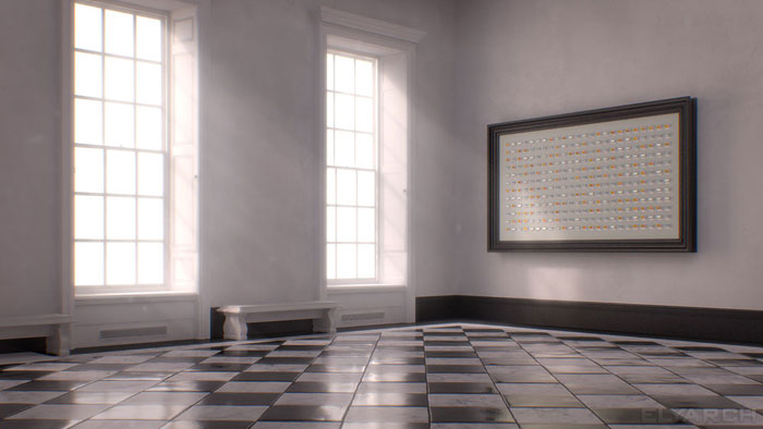 a frame from our CG short film 'Gone?': the room inspired by the Great Hall in the Queens House in Greenwich, London